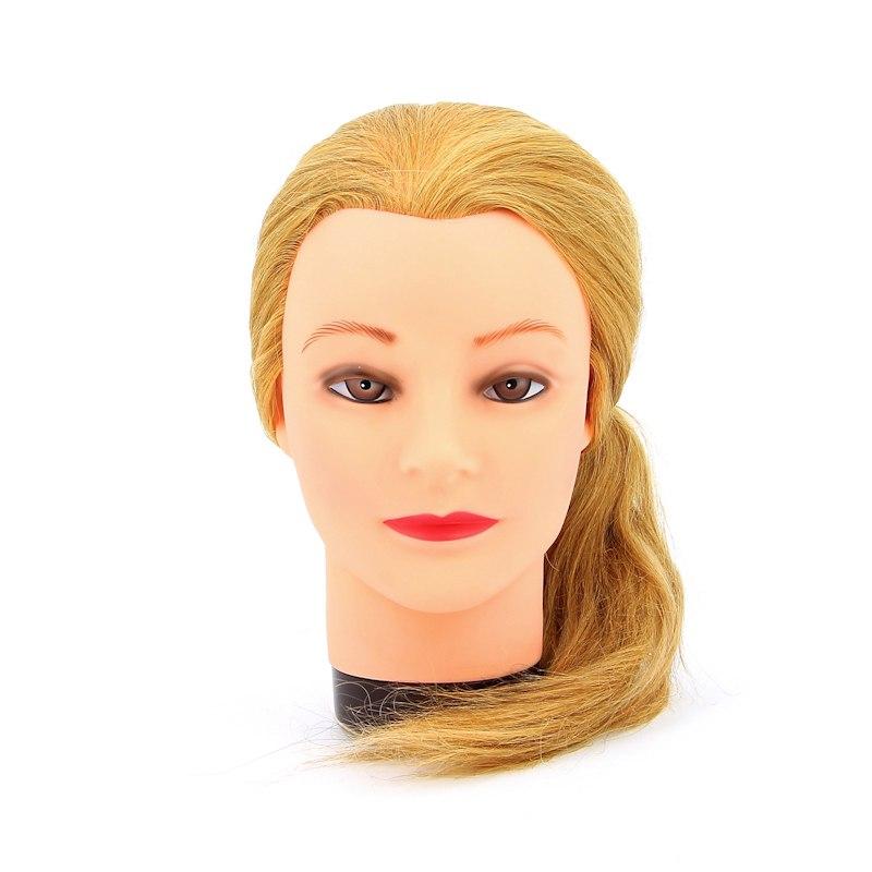 """Голова-манекен учебная """"блондинка"""" для парикмахеров, натуральные волосы 45-50 см DEWAL M-4151L-408"""