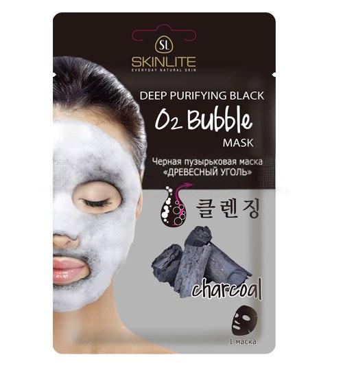 """Черная пузырьковая маска«Вулканический пепел» и """"древесный уголь"""":"""