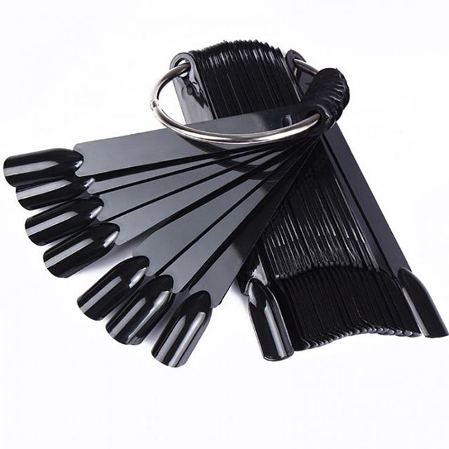 Палитра для лака веер, планшет черный на кольце - 50 шт